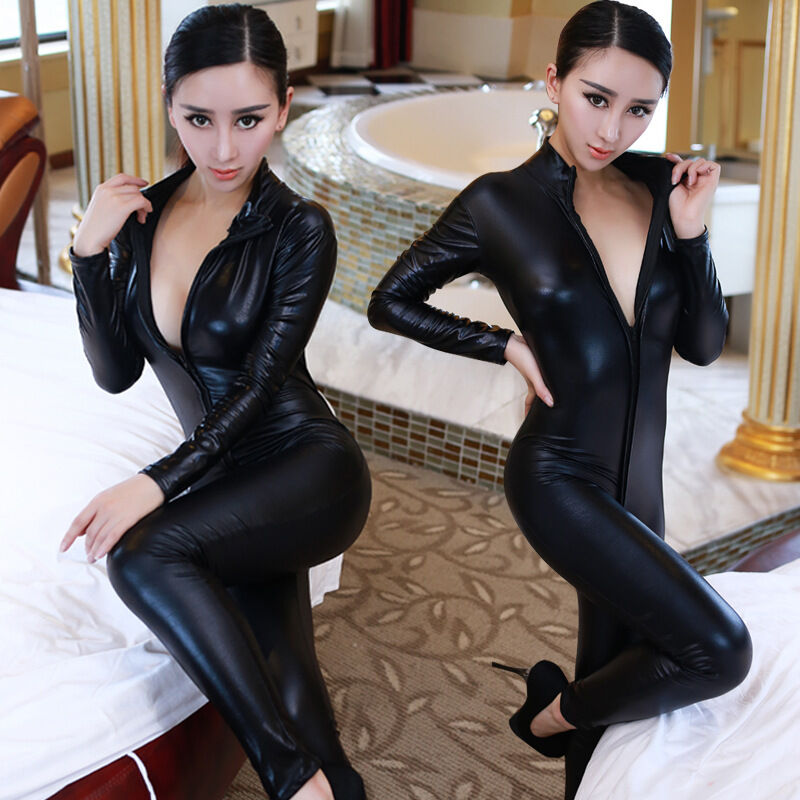 femme sexy en cuir synth tique noir wet look pvc combinaison catsuit costume de ebay. Black Bedroom Furniture Sets. Home Design Ideas