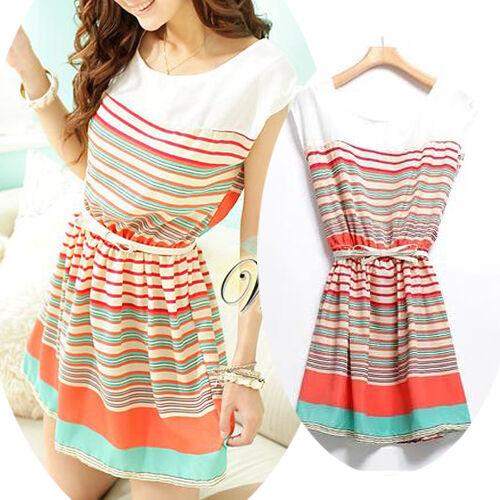 New Women's Colorful Stripes Summer Chiffon Dress Clubwear With Bowknot Belt O