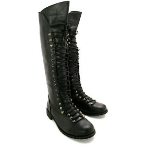 new womens flat lace up knee high biker boots black sz uk
