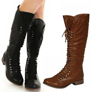 new womens knee high combat boots black brown