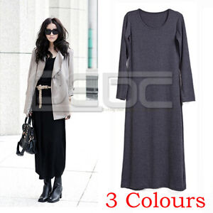 Long Sleeve Maxi Dress on Fashion Long Sleeve Casual Chic Stretch Slim Maxi Long Dress   Ebay