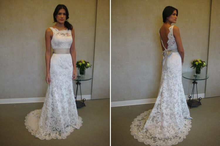 Vintage White Ivory Lace Train Bridal Gown Wedding Party Evening Dress Custom