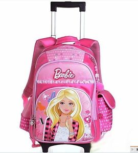 ... -disney-barbie-school-backpack-bookbag-girls-kids-roller-rolling-bag