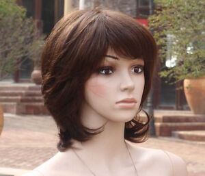 women lady s full wig wigs hairpiece,100% real natural human hair
