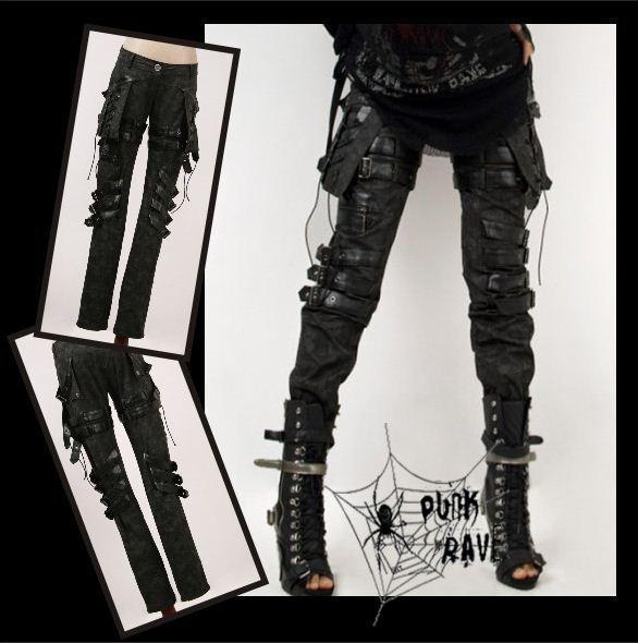 New girls Goth PUNK visual kei Rock belt trousers pants S M L XL XXL