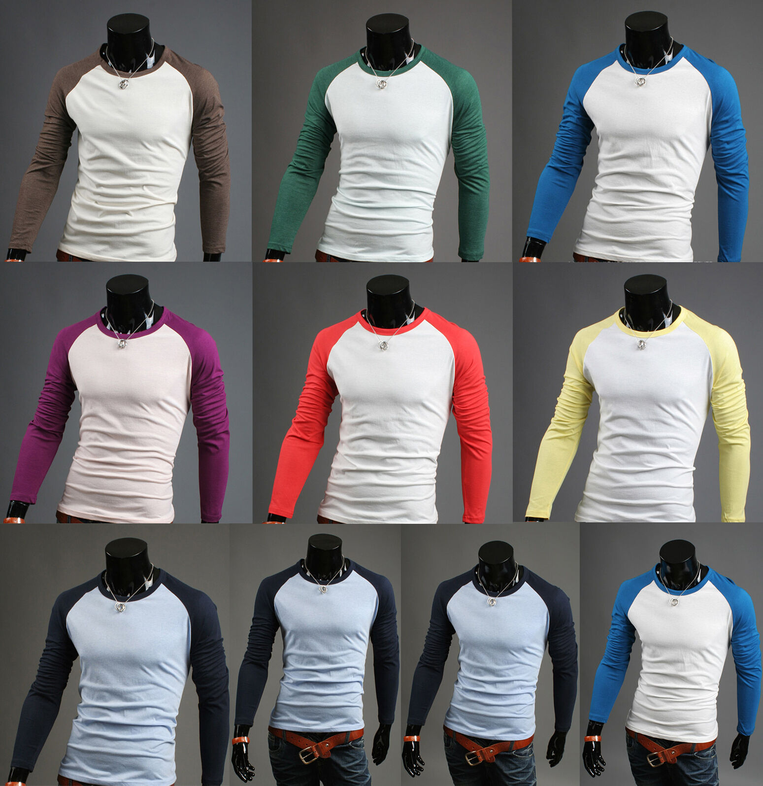 New long sleeve raglan t shirt mens baseball varsity woemns raglan top UK sz M L
