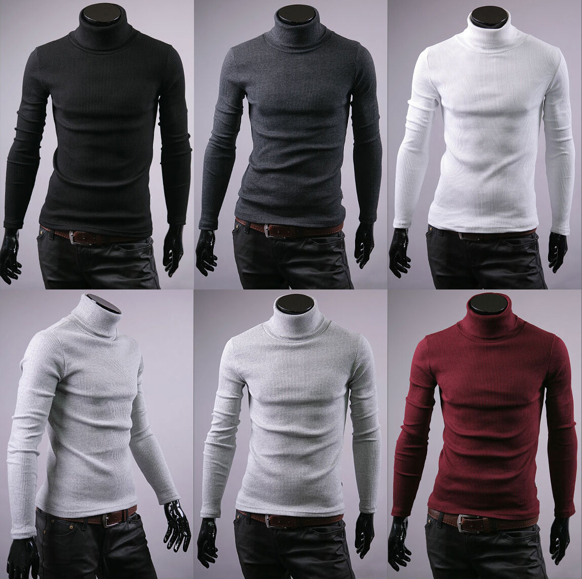 New mens cotton turtle neck polo turtleneck sweater stretch jumper us size S M L