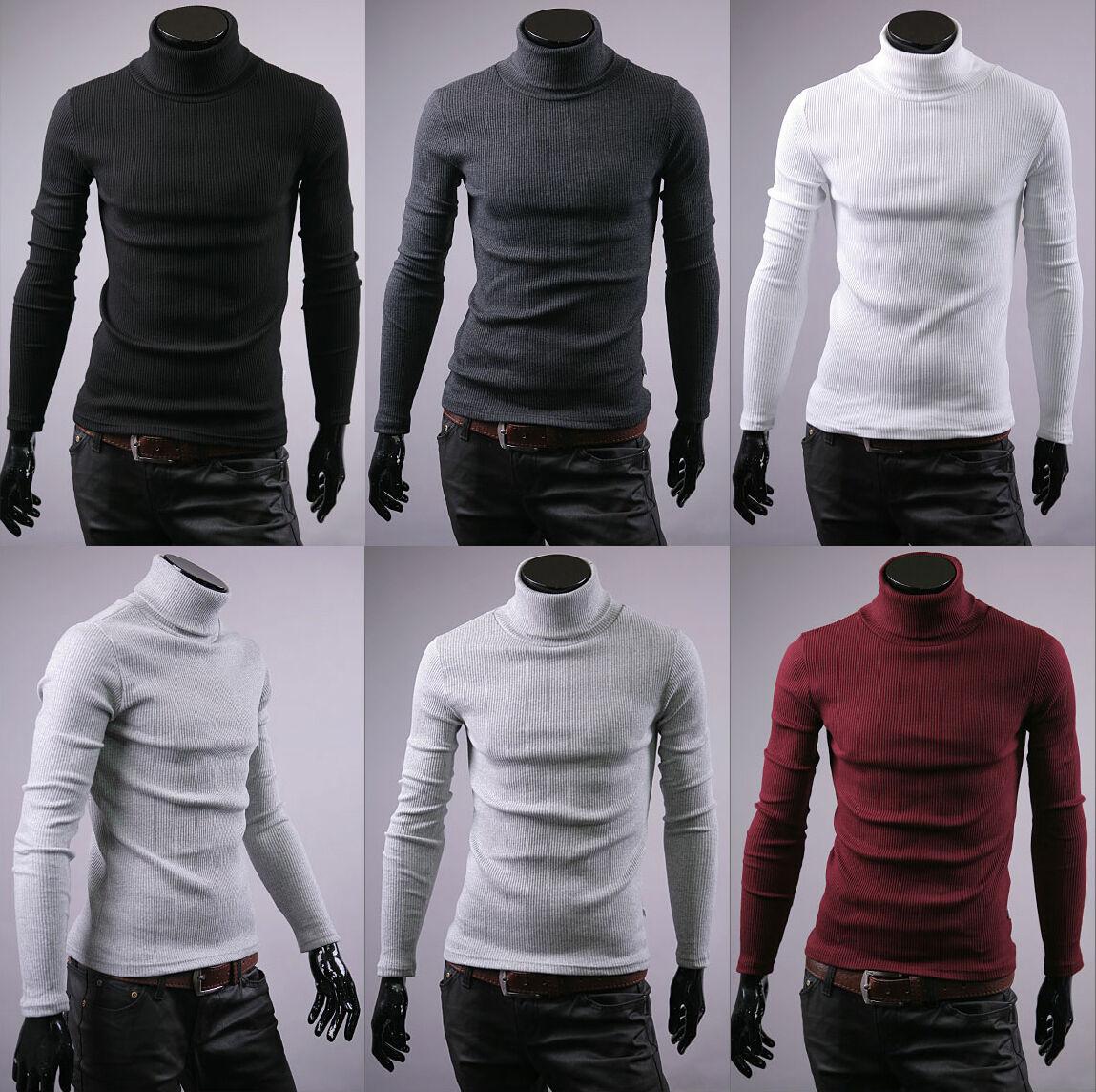 New mens cotton turtle neck polo turtleneck sweater stretch jumper us size S M L