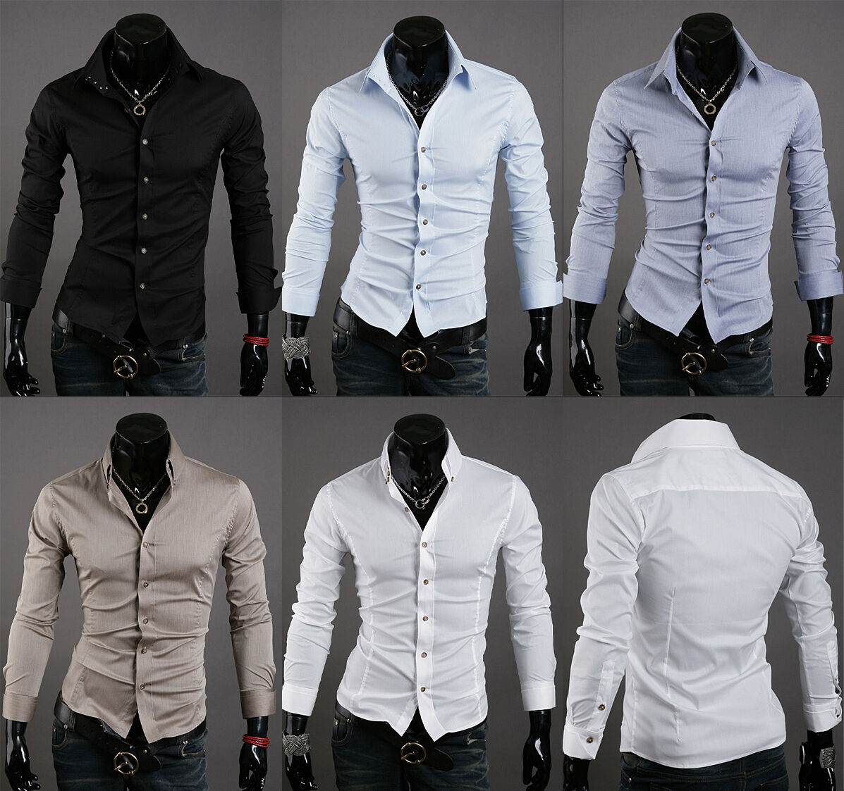 New mens slim fit 3 button t shirt for men dress shirts US sz XS S M L