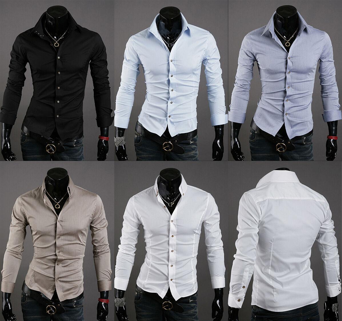 New mens slim fit 3 button t shirt for men dress shirts US sz XS S M L