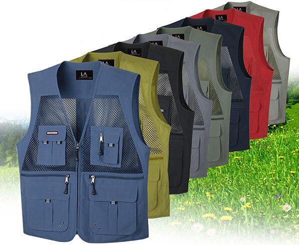 New mens sport vest sleeveless mulit pockets mesh fishing hunting work wear vest
