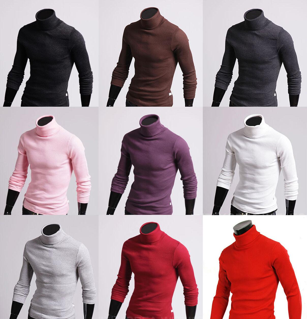 New mens turtleneck sweater shirts Cotton polo neck stretch jumper UK S M L