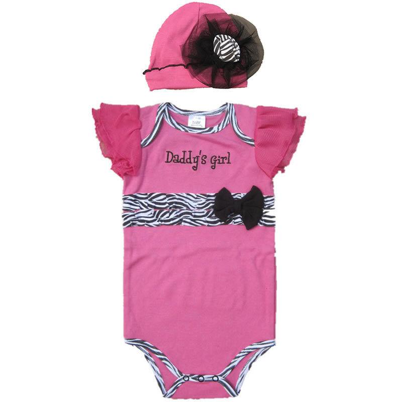 Newborn Infant Kids Baby Girls Hat Romper Jumpsuit Bodysuit Sets Outfits Clothes