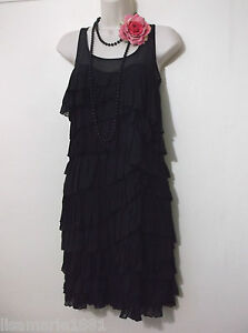 Next-UK-6-Vintage-Style-1920s-Flapper-Black-Charleston-Frilly-Dress-US-2-EU-34