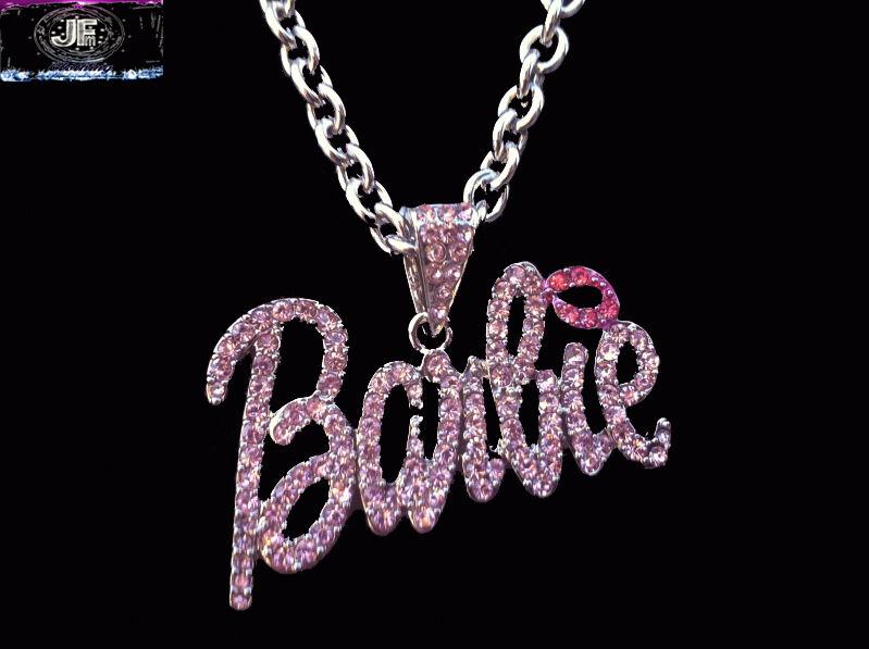 Nicki Minaj 2 BARBIE Iced Out Necklace Silver PINK