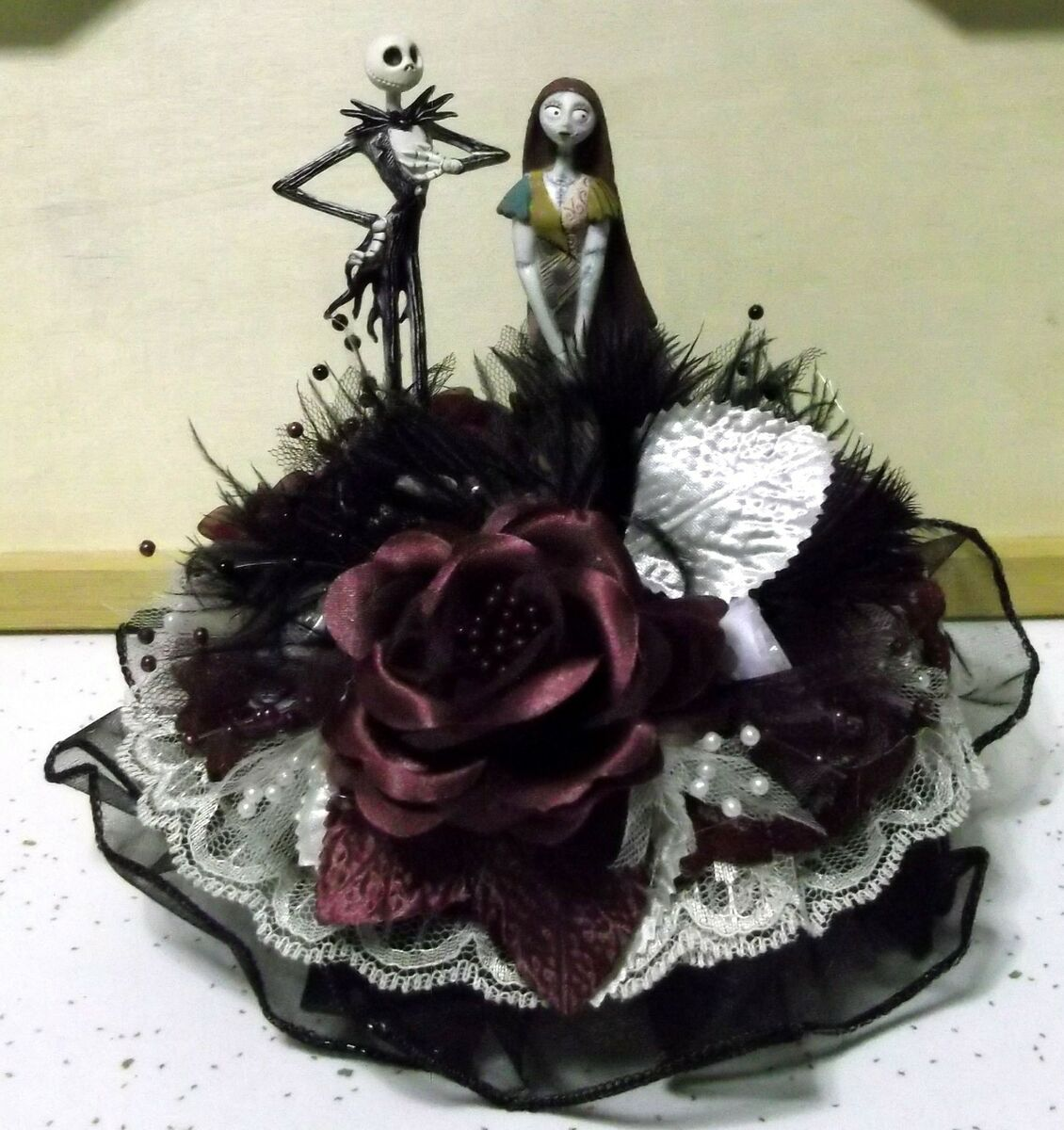 Nightmare Before Christmas Wedding Cake Topper Jack Sally White