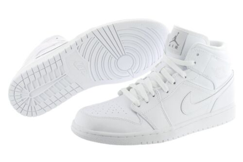 Nike Air Jordan 1 Mid 554724-100 White Leather Retro Basketball Shoes Men in Clothing, Shoes & Accessories, Men's Shoes, Athletic | eBay