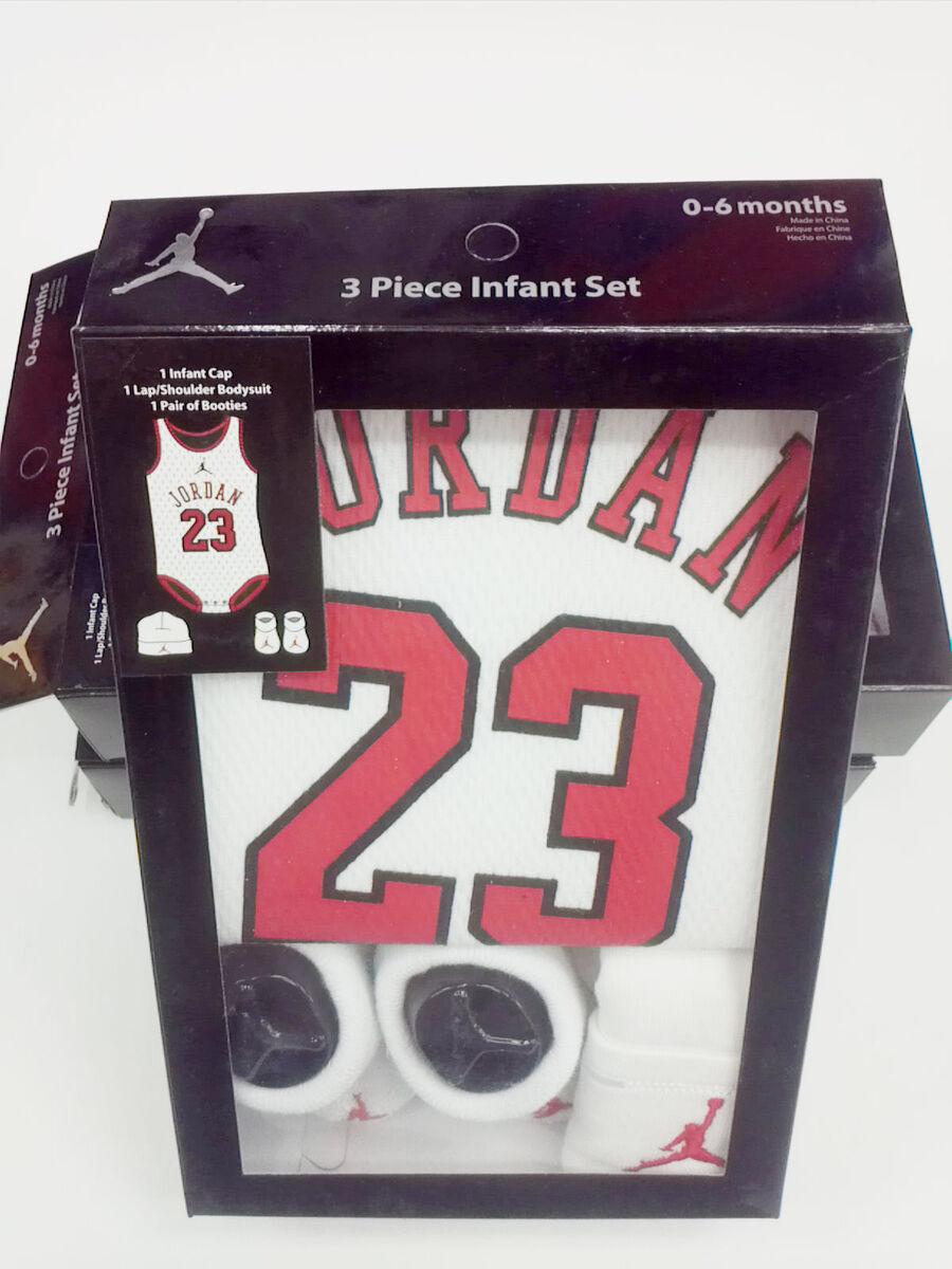 75cac8929 Nike Jordan 23 Jersey Onesie 3 PC Baby Newborn Infant Gift Set Booties