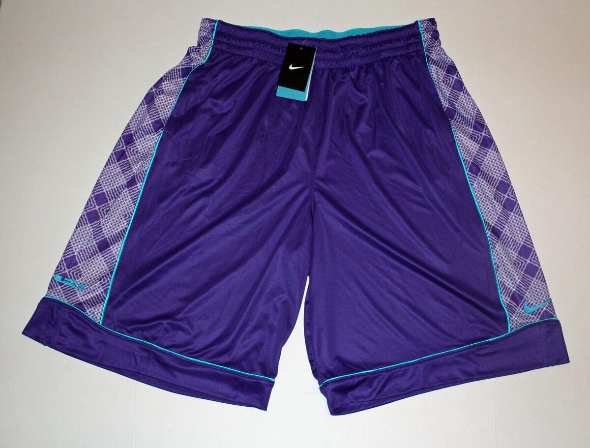 4657078b8ce Nike Lebron James Half Print Mens Basketball Shorts Purple Teal on ...