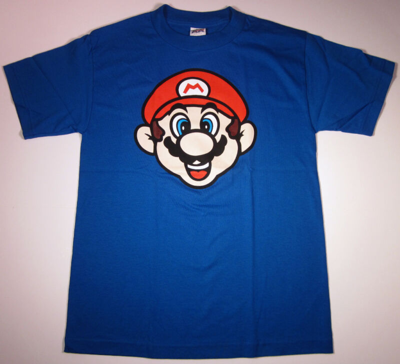 Nintendo Super Mario Bros. T shirt New Adult Tee Blue