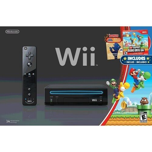 Nintendo Wii System BLACK With Super Mario Bros Wii Console Gaming