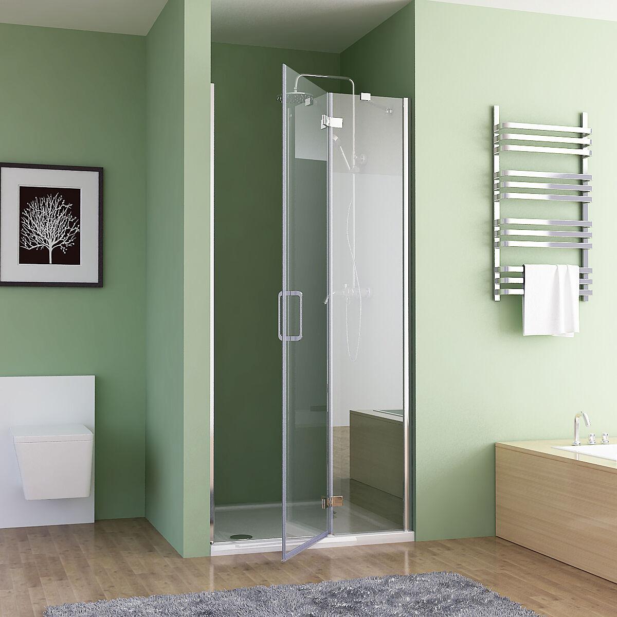 Dusche Nischent?r Faltt?r : Duschabtrennun g Faltt?r Duschwand Dusche NANO Glas 80-100 x 195 cm