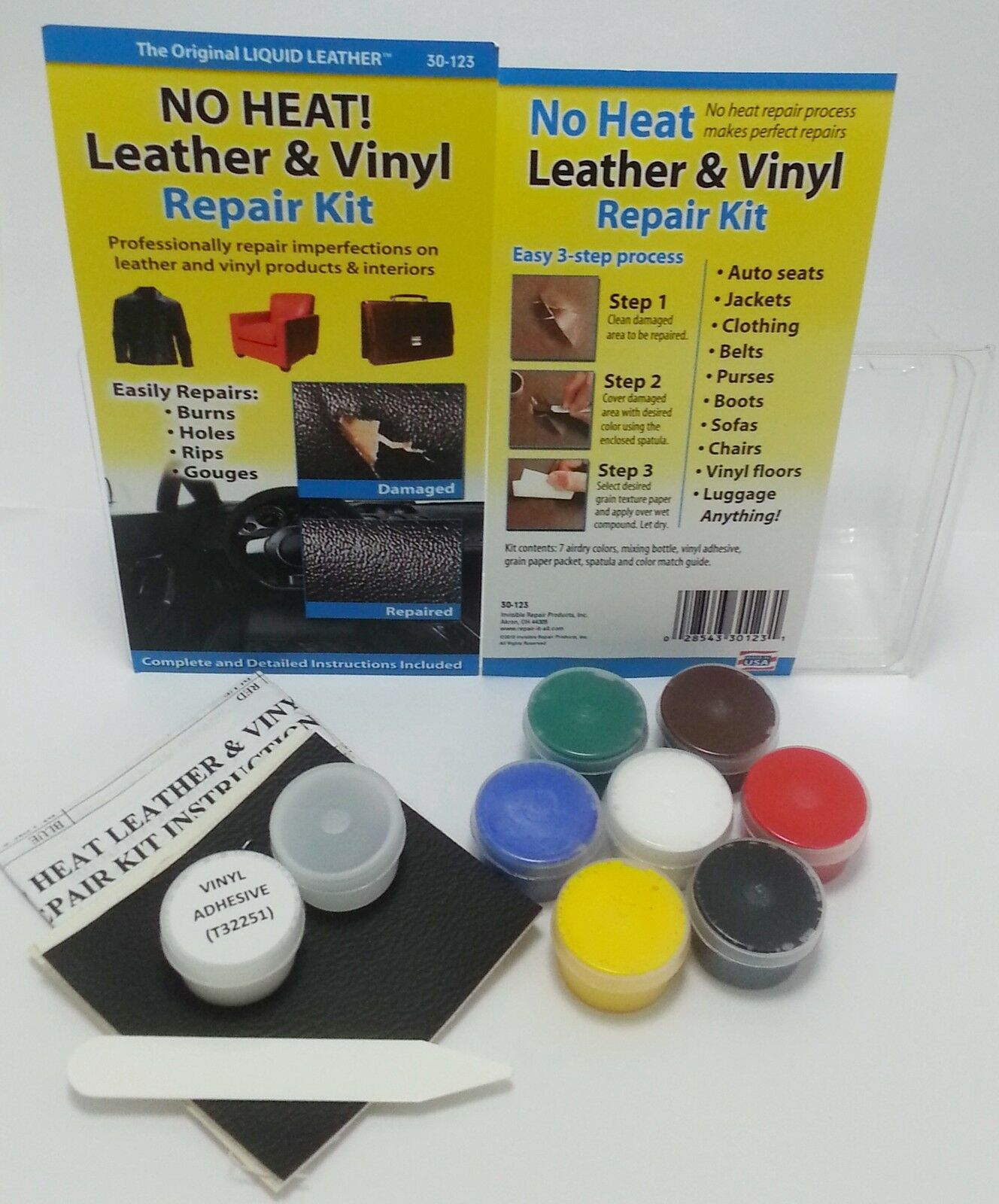 no heat liquid leather and vinyl repair kit fix rips burns holes car boat seat ebay. Black Bedroom Furniture Sets. Home Design Ideas