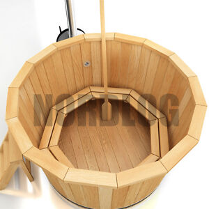 nordlog hot tub badefass mit ofen badezuber badetonne badebottich 1 9m sauna ebay. Black Bedroom Furniture Sets. Home Design Ideas