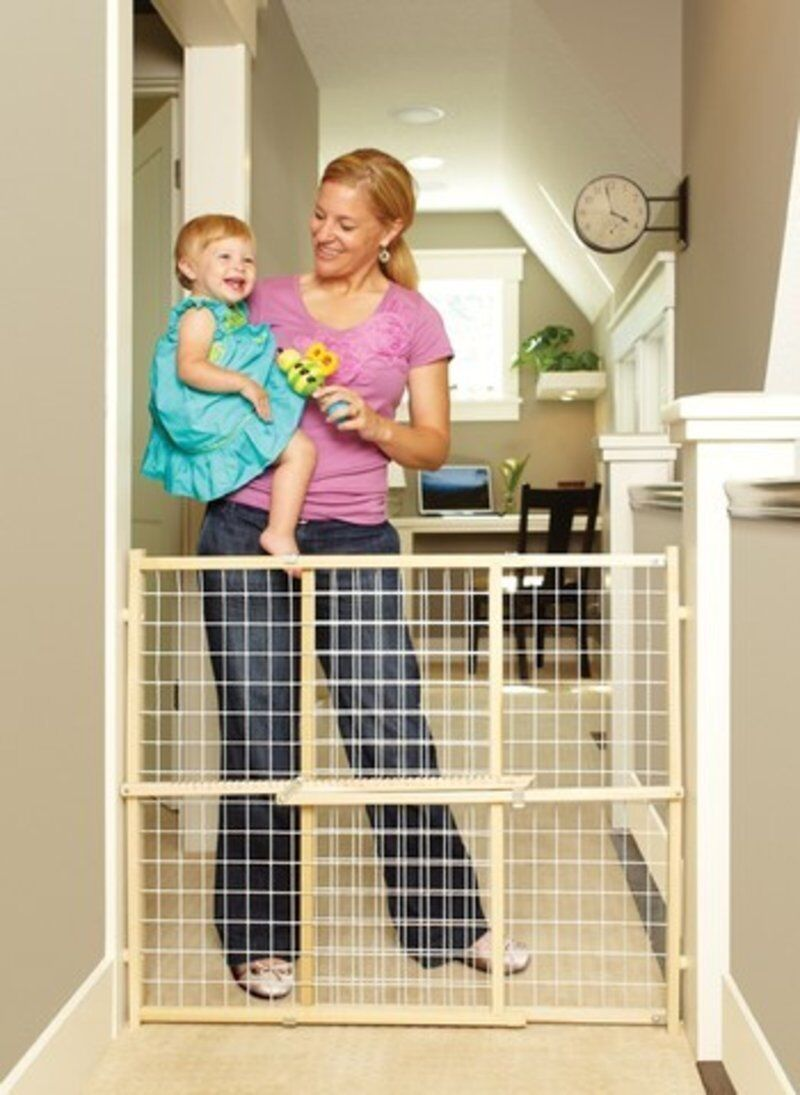 North States Extra Wide Tall Pressure Mount Wood Wire Mesh Dog Pet Gate NS4615