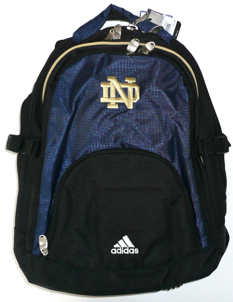 13a6cf7a46d5 Notre Dame Fighting Irish Adidas Embroidered Team Backpack Navy Blue Black  New