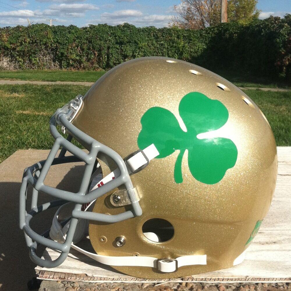Notre Dame Fighting Irish Football Helmet w Shamrock Decals WOW