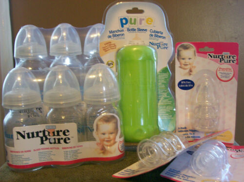 Nurture Pure Glass Baby Bottles with cover and nipples in Baby, Feeding, Baby Bottles | eBay