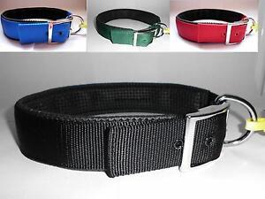 Nylon-Halsband-Hund-EXTRA-BREIT-25mm-oder-40mm-gefuettert-dupliert-Hundehalsband