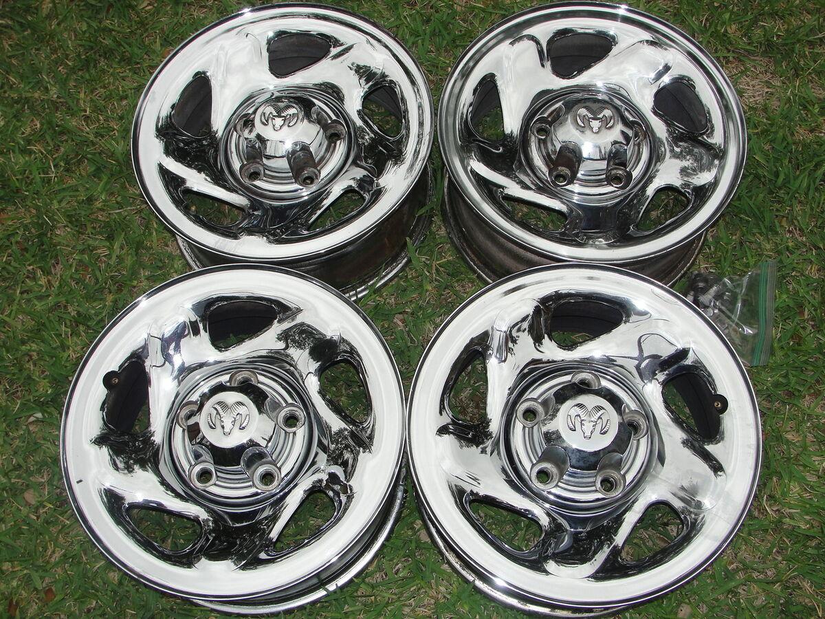 "95 96 97 98 99 00 01 Dodge RAM 1500 16"" Chrome Steel Wheels Rims Caps Lugs"