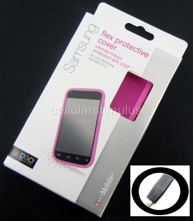 OEM T Mobile D3O Pink Flex Hard Gel Case Samsung Galaxy S II T989