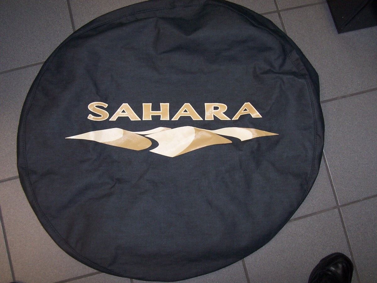 New Jeep Wrangler JK Spare Tire Cover Sahara Black Denim Mopar Tan Logo Nice