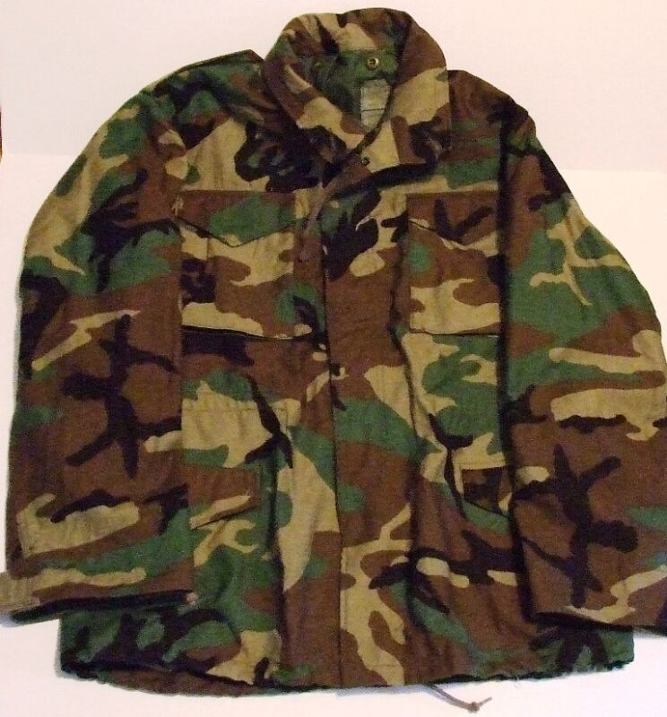 b70538d9f2a BDU WOODLAND CAMOUFLAGE FIELD JACKET COAT COLD WEATHER GREAT SIZE SL ...