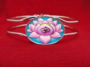 Worldwide Flower Delivery on Ohm Symbol Lotus Flower Tattoo Om Hindu Bangle Bracelet   Ebay