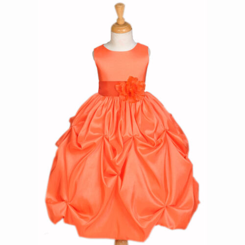 ORANGE SATIN TAFFETA PAGEANT WEDDING FLOWER GIRL DRESS 12M 2 3T 4 5T 6 6X 8 9 10 in Clothing, Shoes & Accessories, Wedding & Formal Occasion, Girls' Formal Occasion | eBay
