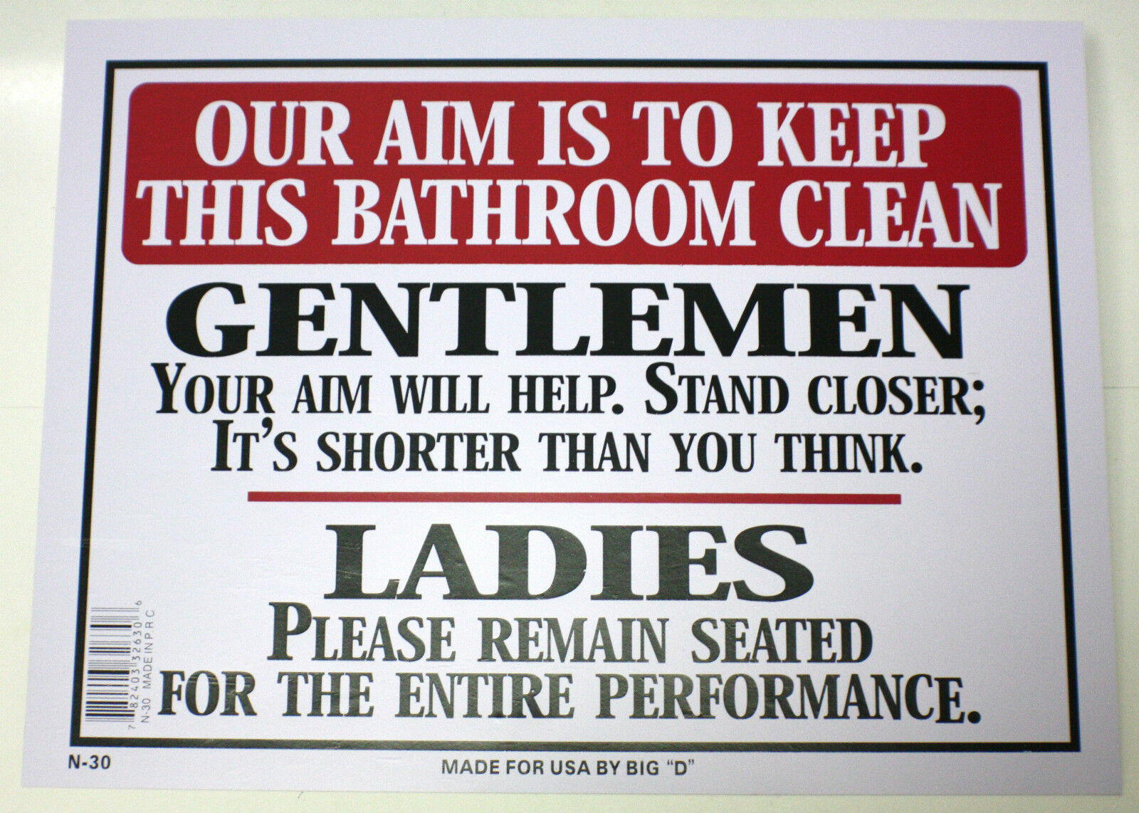 OUR AIM IS TO KEEP BATHROOM CLEAN MEN WOMEN TOILET NOVELTY SIGN 9 X12