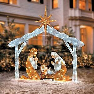 Outdoor Lighted Nativity Scene Decoration http://www.ebay.com/itm/OUTDOOR-HOLIDAY-CHRISTMAS-LIGHTED-NATIVITY-SCENE-Yard-Art-Display-Decoration-/261204395953