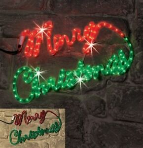 Outdoor merry christmas wall sign rope light ropelight for Outdoor christmas wall decorations