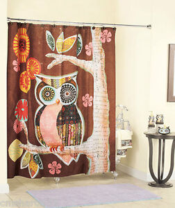 Bathroom Window on Owl Bath Collection Separates Shower Curtain Or Window Valance In