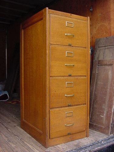 Oak 4 Drawer File Cabinet Quartersawn Circa 1900 LEGAL SIZE in Antiques, Furniture, Cabinets & Cupboards | eBay
