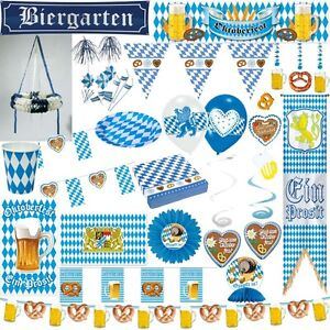 oktoberfest party dekoration deko bayern bavaria wiesn blau weiss raute set ebay. Black Bedroom Furniture Sets. Home Design Ideas