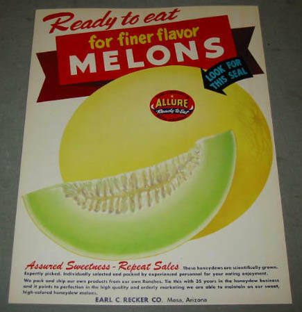 Old 1950's Allure MELONS MESA Arizona Advertising SIGN in Collectibles, Advertising, Merchandise & Memorabilia | eBay