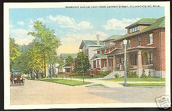 Old BELLEFONTAINE Ohio Postcard Logan County Homes Car