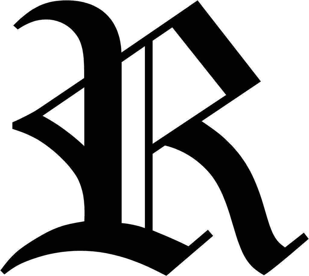 Old English Letter R Initial Decal 3.75 choose color on PopScreen