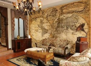 Old world map wallpaper murals 39 5 x49 tall to 9x11 5 for Antique world map wallpaper mural