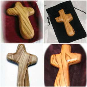 Olive Wood Holding Comfort Caring Palm Hand Cross